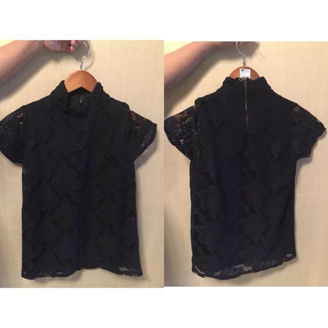 Blouse hitam lace
