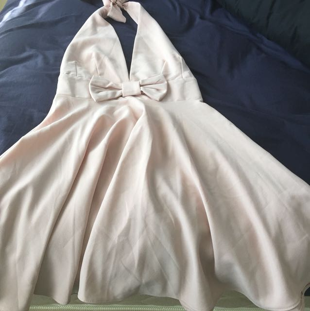 Bow front halter neck dress