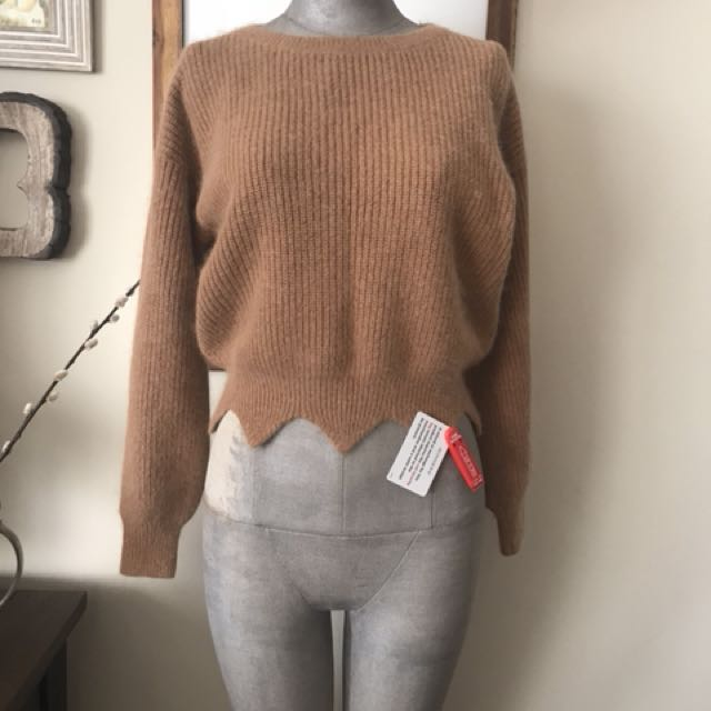 Brand-new scalloped sweater: size S