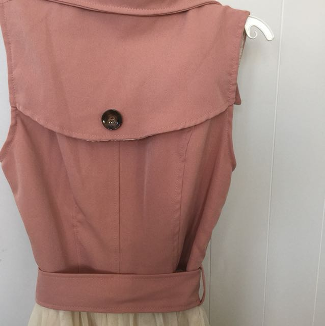 Button up vest dress with tie front