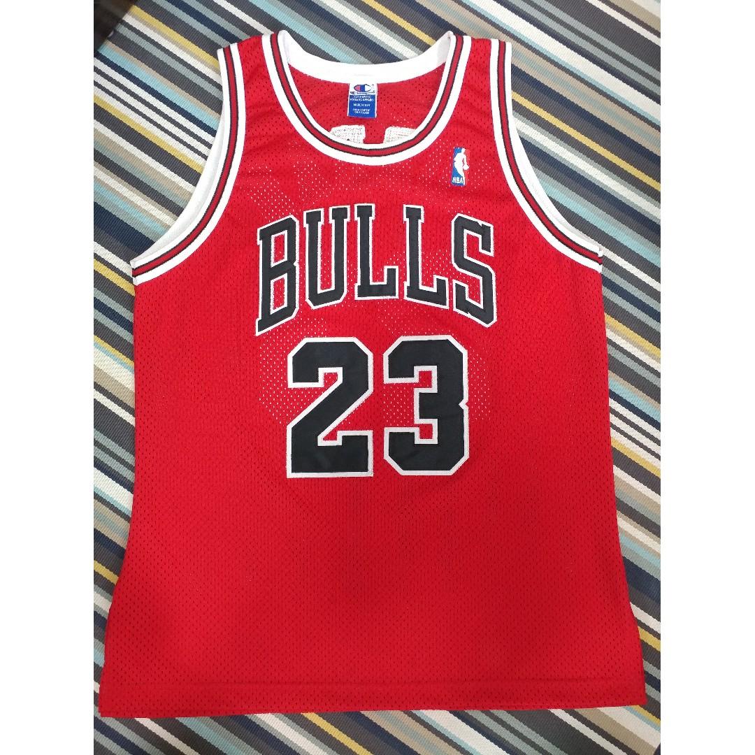 100% authentic adade 187bb Champion Michael Jordan Chicago Bulls Authentic 繡字 Jersey sz 44 NBA