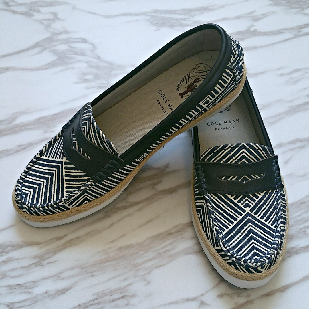Cole Haan Women Pinch Maine Classic Blue White Kaleidoscope Loafer Size 6.5 - NEW