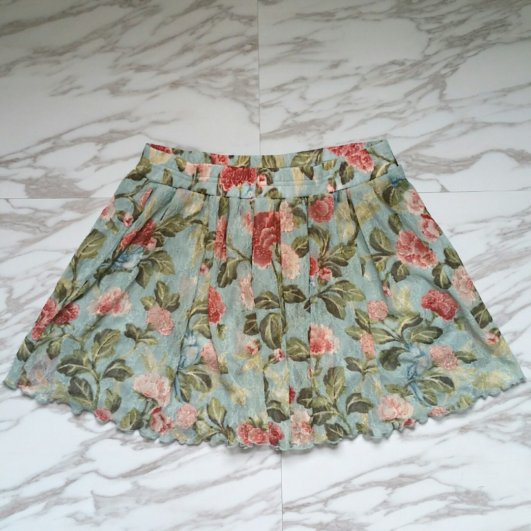Denim and Supply Ralph Lauren Women Green Floral Lace Skirt Size Medium Retailed $89.50