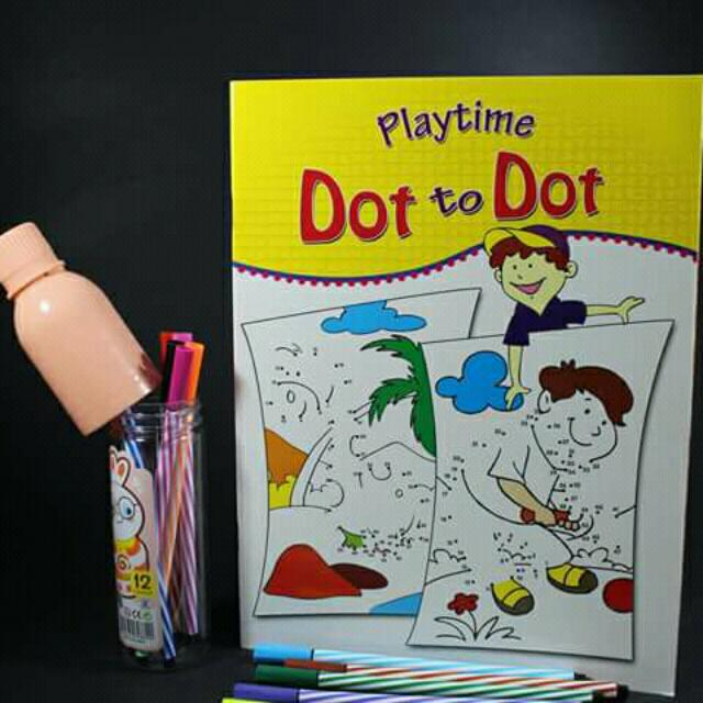 Dot To Dot Activity Book With Color Pens