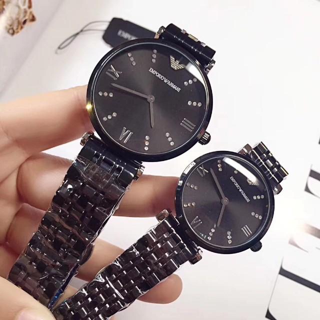 57adfaa284dd9 Emporio Armani Couple Watch- Black, Women's Fashion, Watches on Carousell