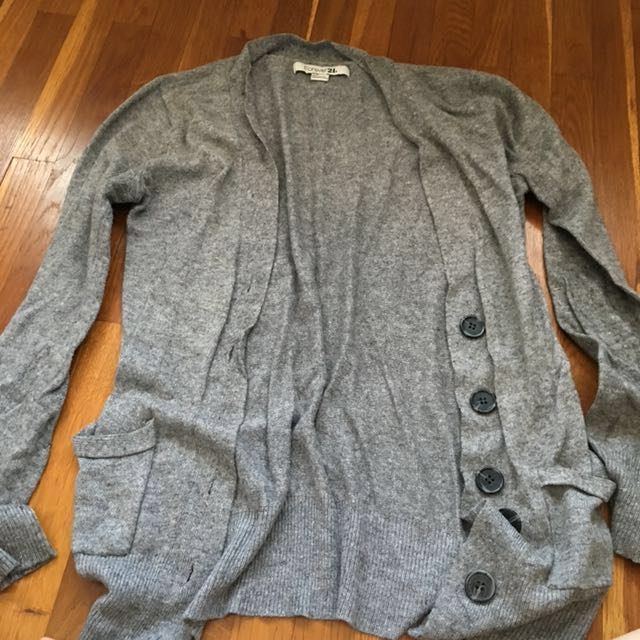 F21 Grey Knit Cardigan