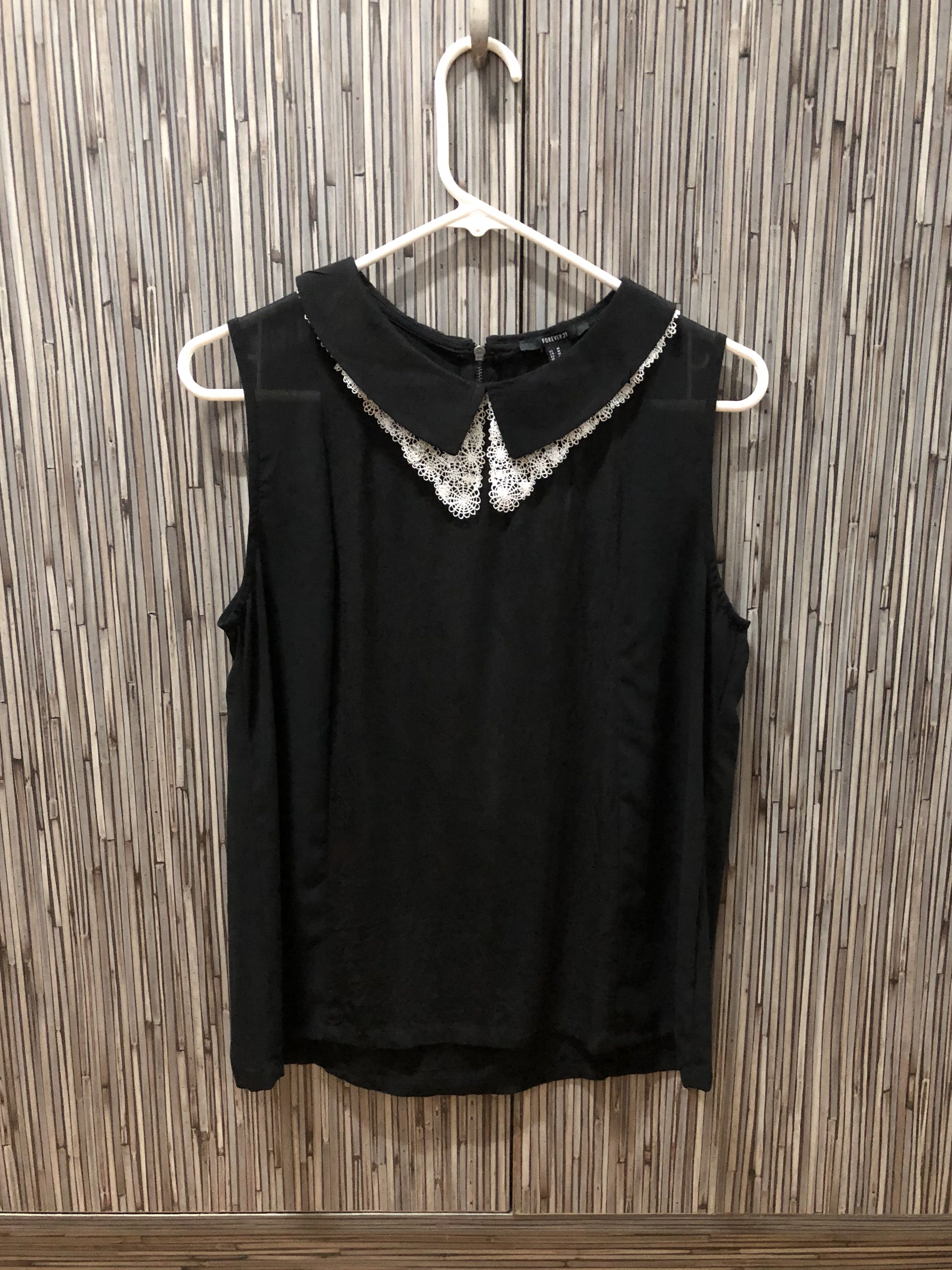 Forever 21 Black Top with Peter Pan Collar