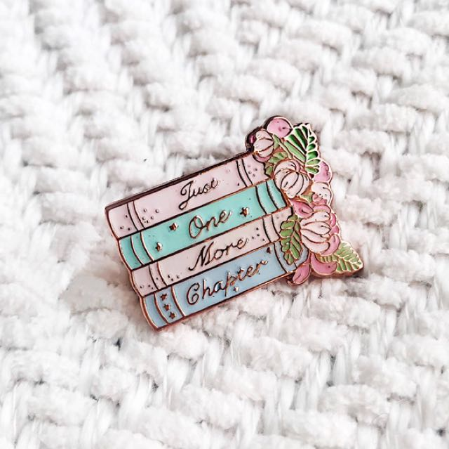 Free Postage JUST ONE MORE CHAPTER  Enamel Pin for booklovers