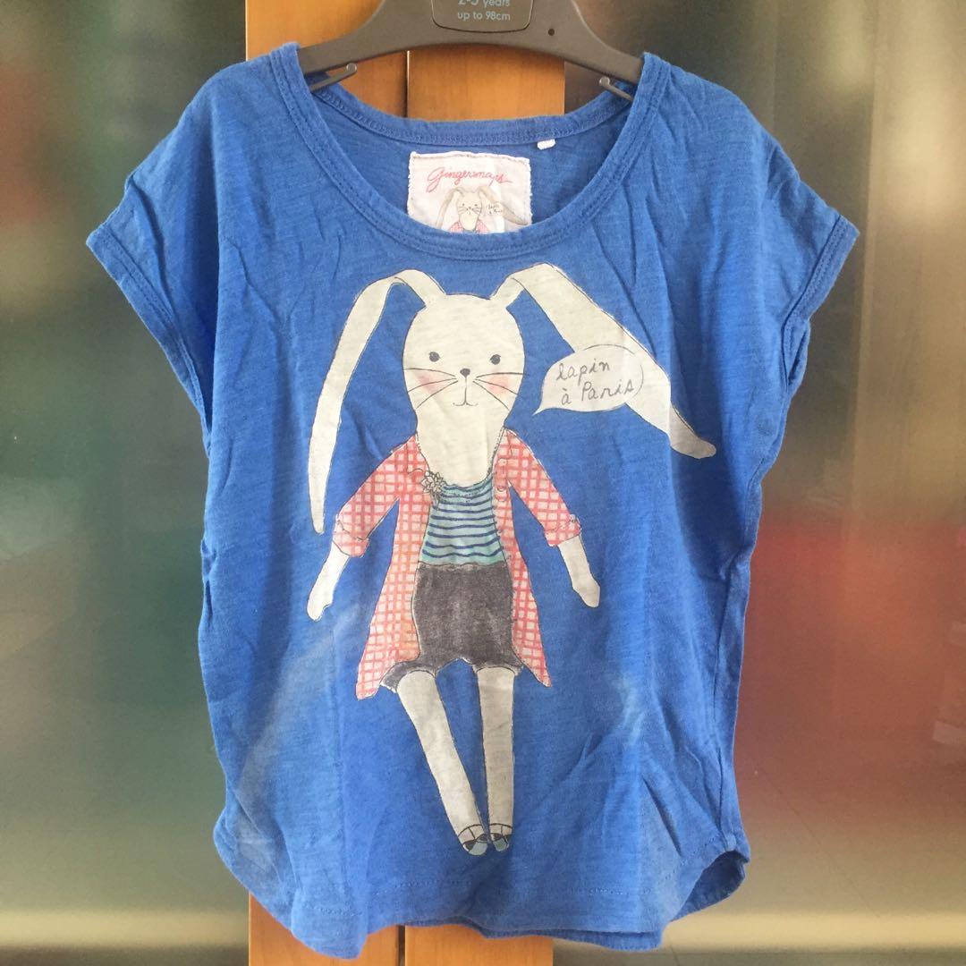 gingersnaps blue bunny t-shirt