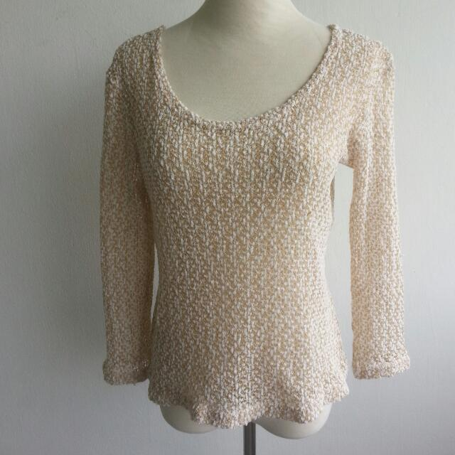 GOLD & WHITE KNITTED TOP