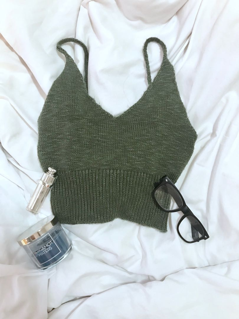 Green Knit Cropped Top