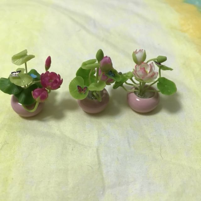 Handmade miniature Lotus Plant with 2 butterflies @ $8 each