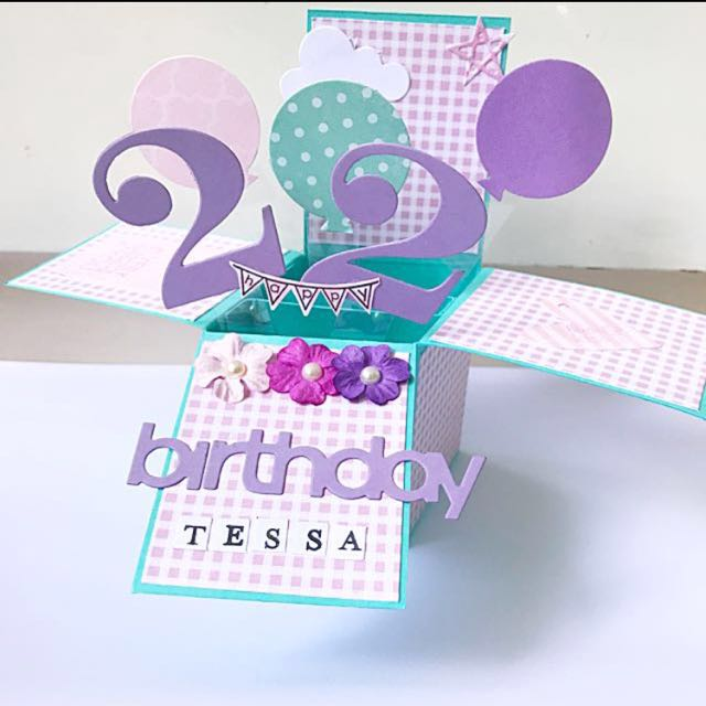 Happy 22nd Birthday Handmade Pop Up Card In Purple And Blue Design