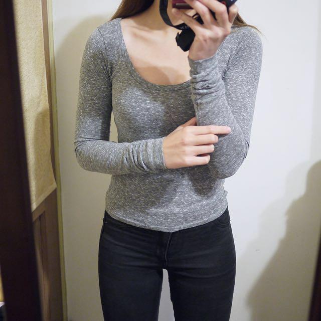 美國品牌Holister&Co.HCO灰色素面百搭圓領棉質長袖合身款上衣T恤XS號