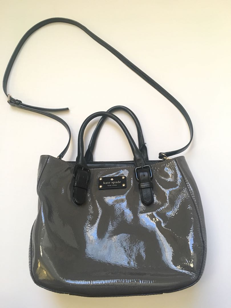 Kate Spade Grey Patent Leather Tote Purse Crossbody