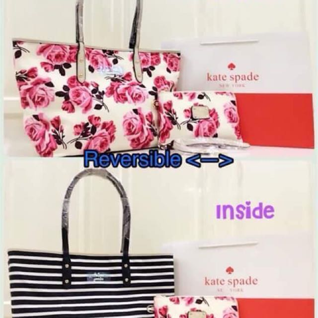Kate Spade Lane Reversible Tote Bags and Pouch Set