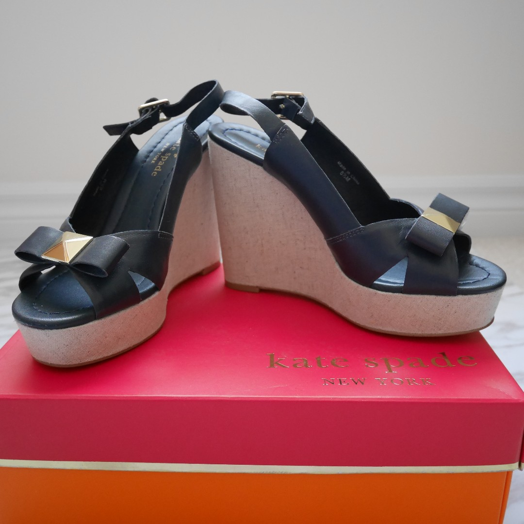 Kate Spade New York Blue Diana Nappa Leather Platform Sandals Size 6.5 - NEW