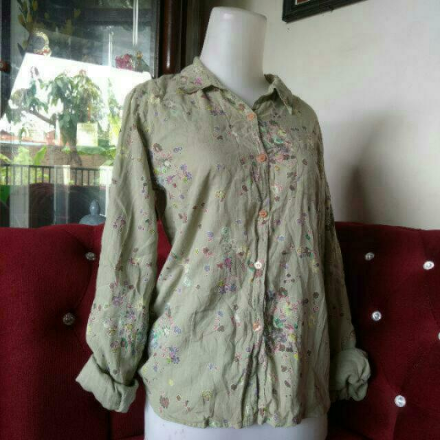 Kemeja Wanita Cewe Hijau / Shirt