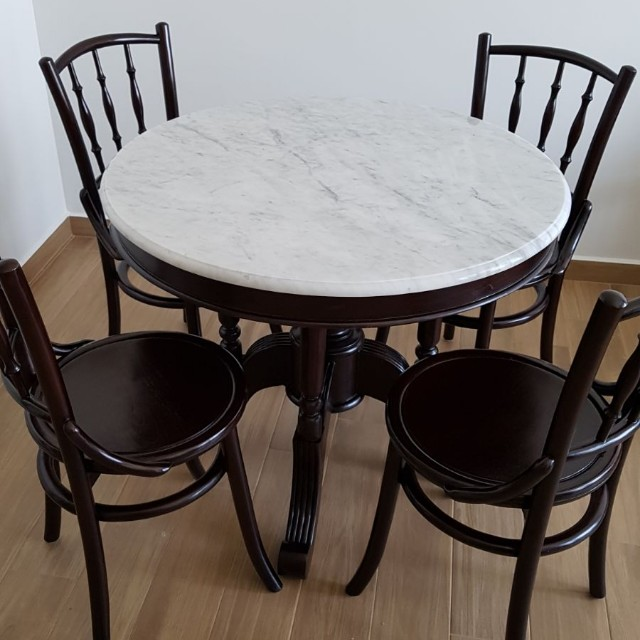 Kopitiam Marble Dining Set W 4 Chairs Furniture Tables Chairs On Carousell