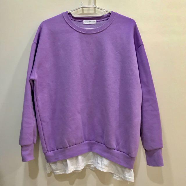 🆕Korea  簡約內刷毛拚布T ⭕ 紫色