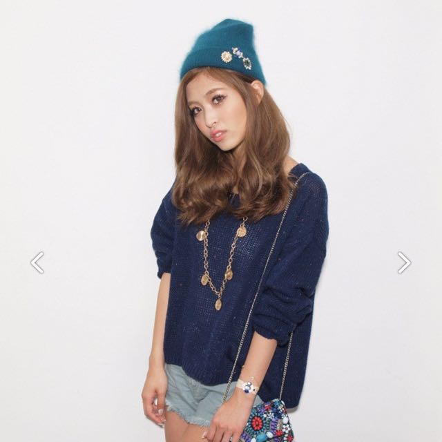 [二手]日本品牌Lagunamoon LM 彩色混色針織衫 深藍色 free size #新春八折