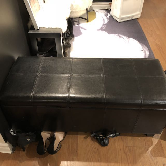 "Leather Storage Ottoman 40""x16""x16"" PICK UP BEFORE MARCH 15"