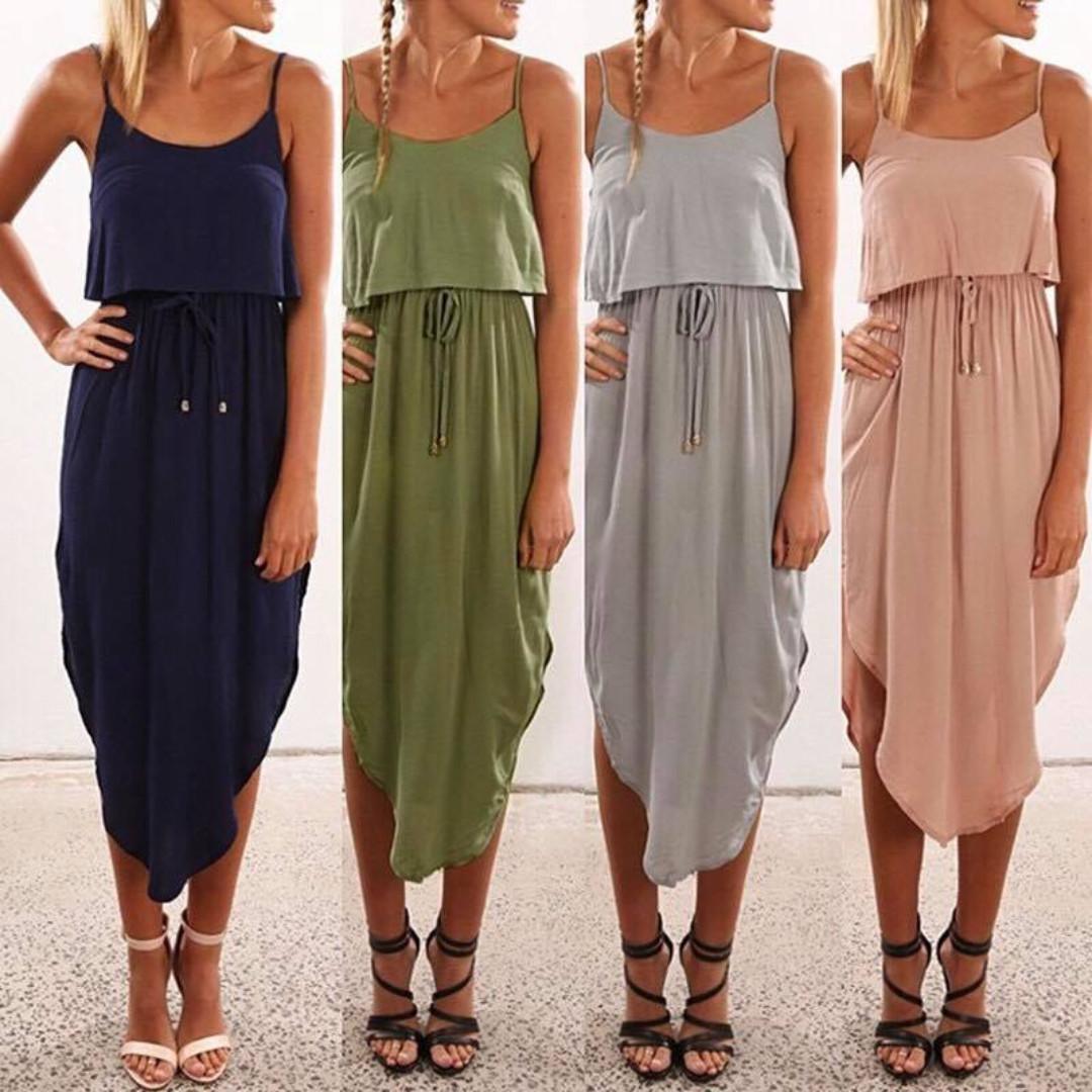 💋Linen Drawstring Dress