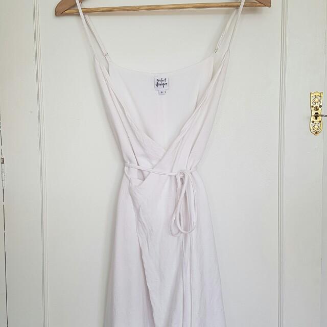 Linen look wrap dress