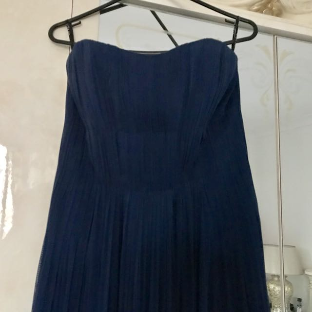 LISO HO BLUE SILK TULLE EVENING BALL GOWN DRESS WEDDING - SIZE AU 6 - RRP $1299