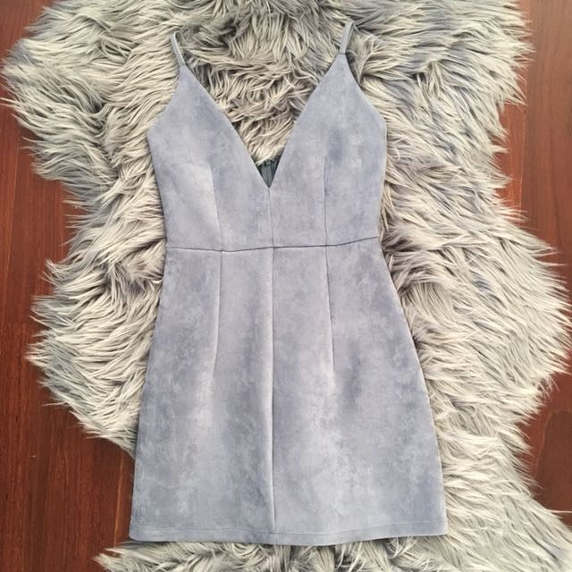 Luvalot Light Blue Suede Mini Dress Size 6
