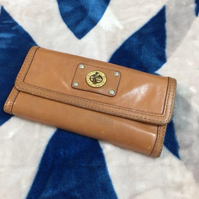 美國品牌MARC JACOBS棕色真皮長皮夾