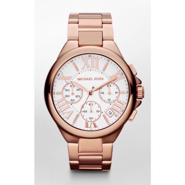 MICHAEL KORS Camille Chronograph White Dial Rose Gold Ladies Watch MK 5757