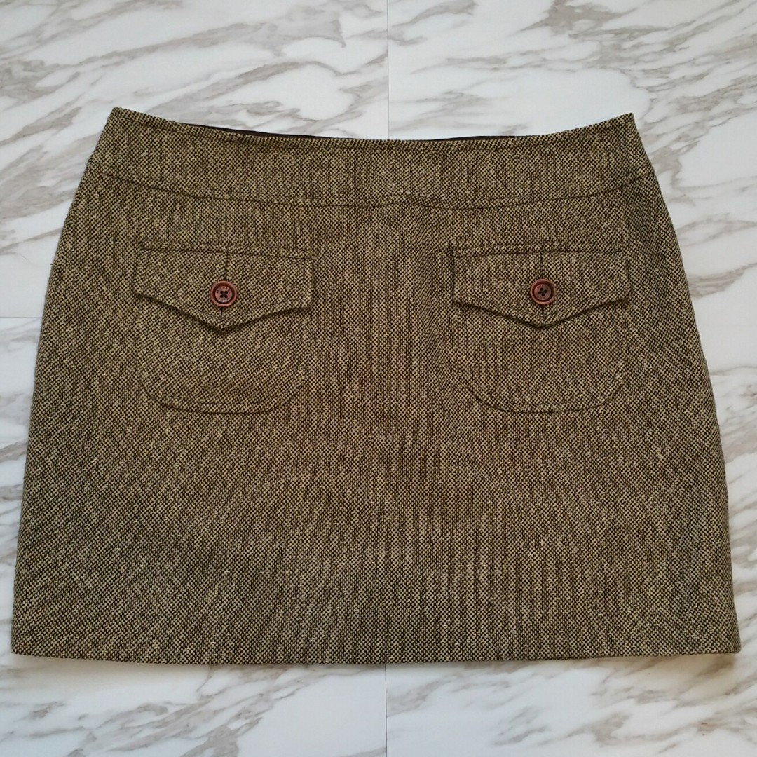 Michael Kors Gold Lined Metallic Thread Mini Skirt with Patch Pockets - Size 12