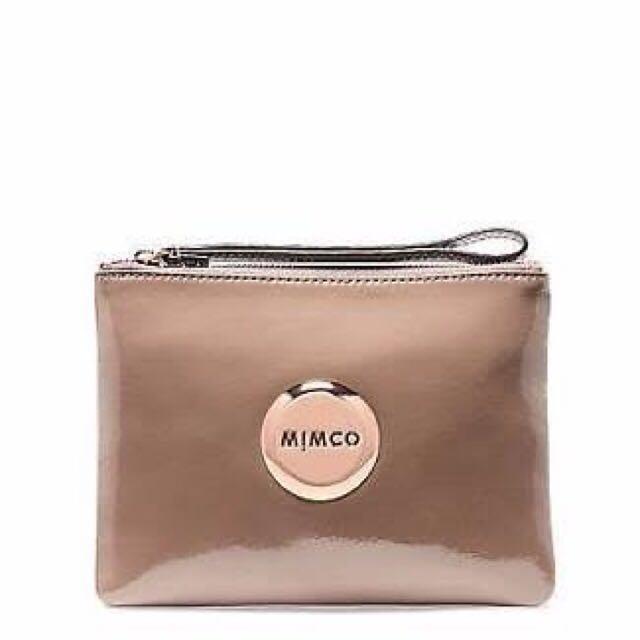 Mimco Medium Pouch Patent Leather Birch