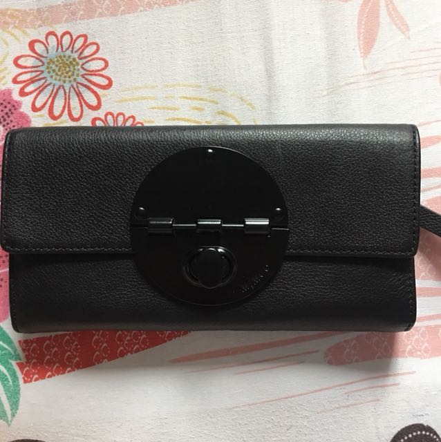 Mimco Turnlock Wallet (Black/pebbled leather)
