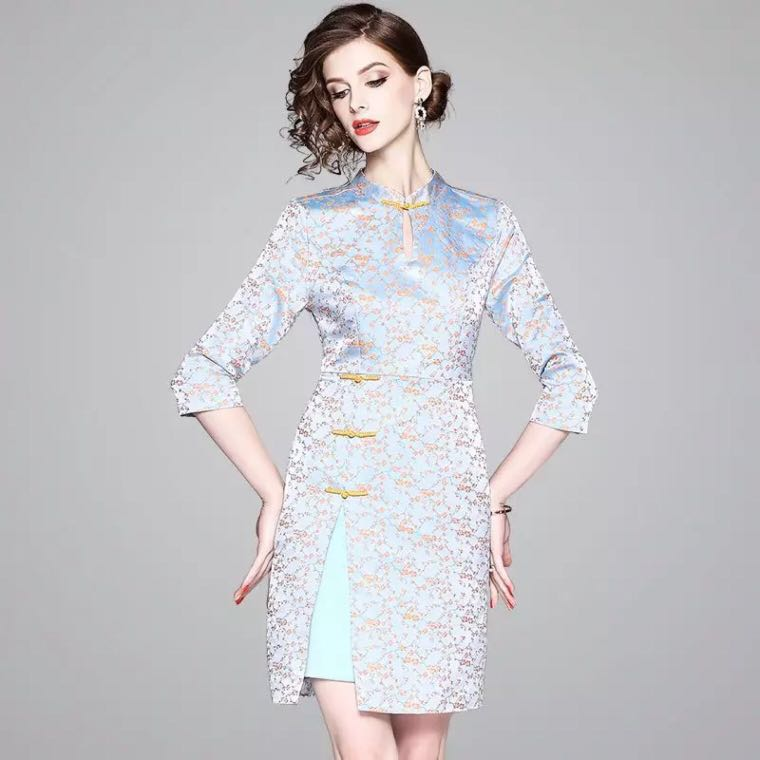 d2ef52d7c Modern vintage cheongsam floral jacquard dress modified traditional chinese  costumes Qipao with a side slit, Women's Fashion, Clothes, Dresses & Skirts  on ...
