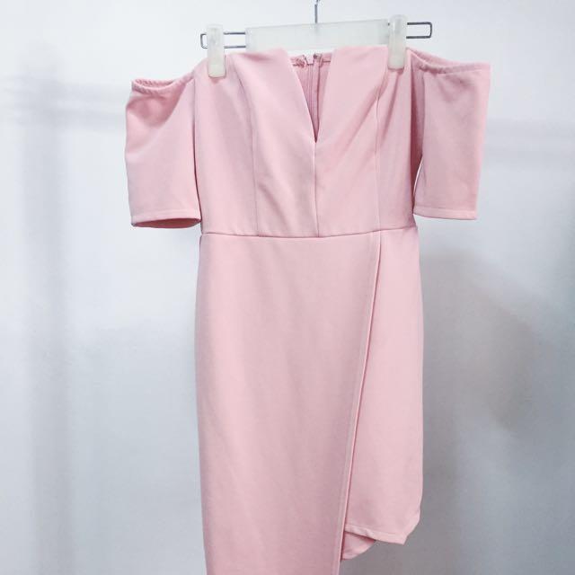 8d78bbcb7d3a Mustard Seed Blush Pink Off shoulder Semi-Formal Dress