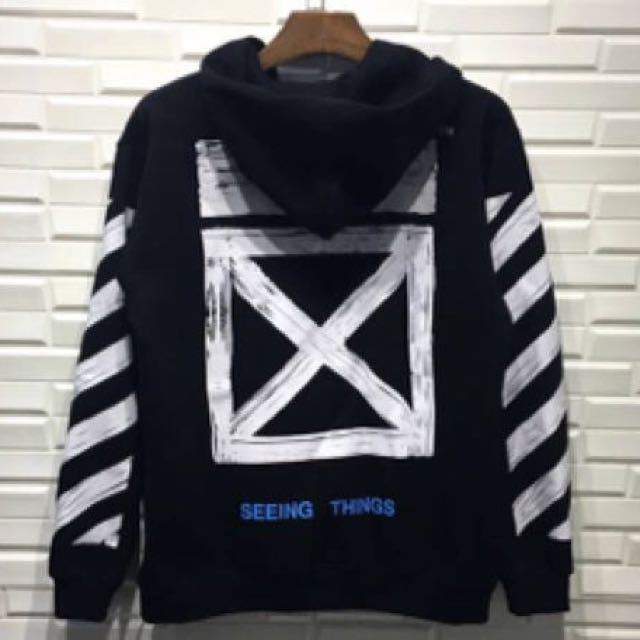 Offwhite Seeing Things Zip Unisex Sweater Black Mens Fashion