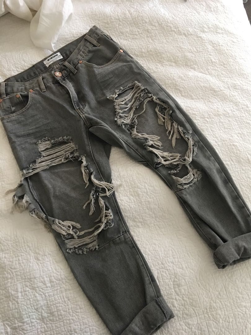 One Teaspoon Boyfriend Denim Jeans size 24
