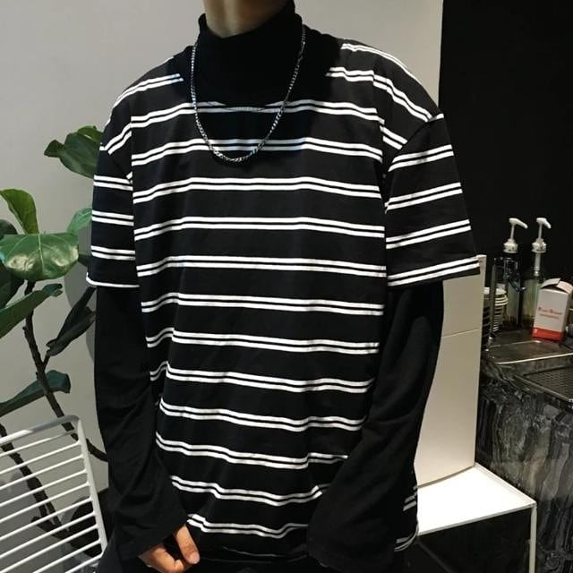 Oversized Stripes Swag Tee Double line Streetwear Dope Cool