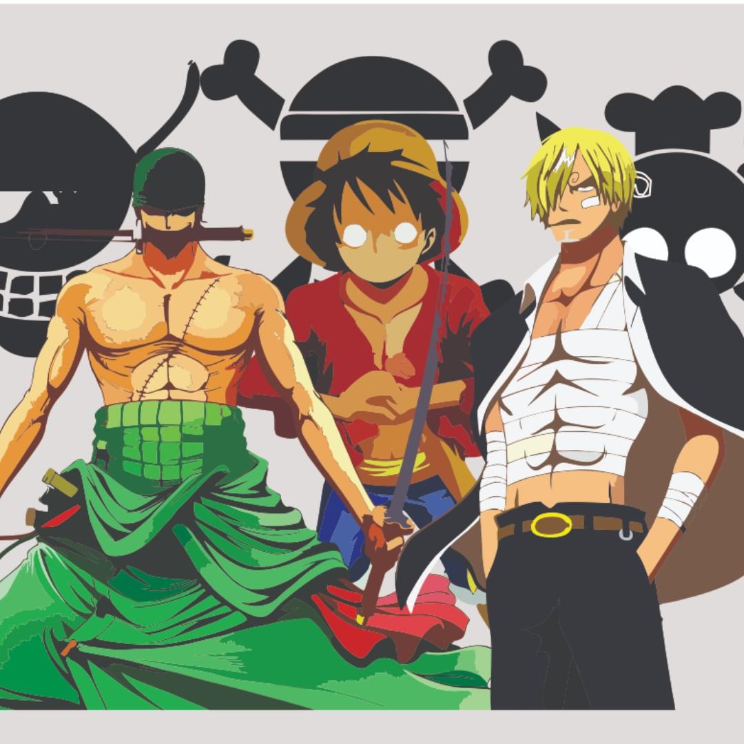 Poster One Piece Trio Monster Luffy Sanji Zoro Ukuran Kertas A1 Desain Kerajinan Tangan Lainnya Di Carousell