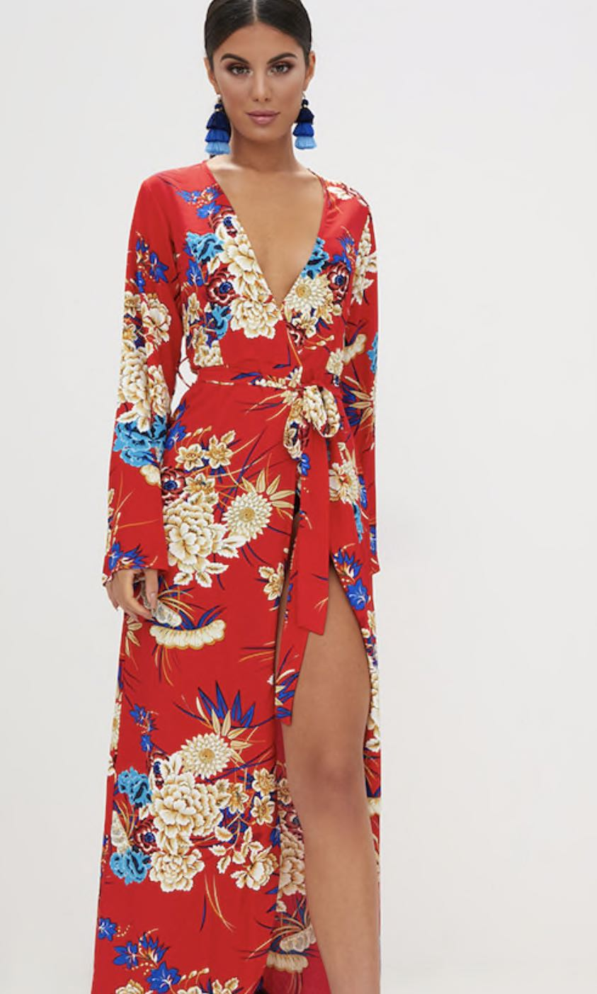 PRETTY LITTLE THING FLORAL MAXI KIMONO - RED - SIZE 10