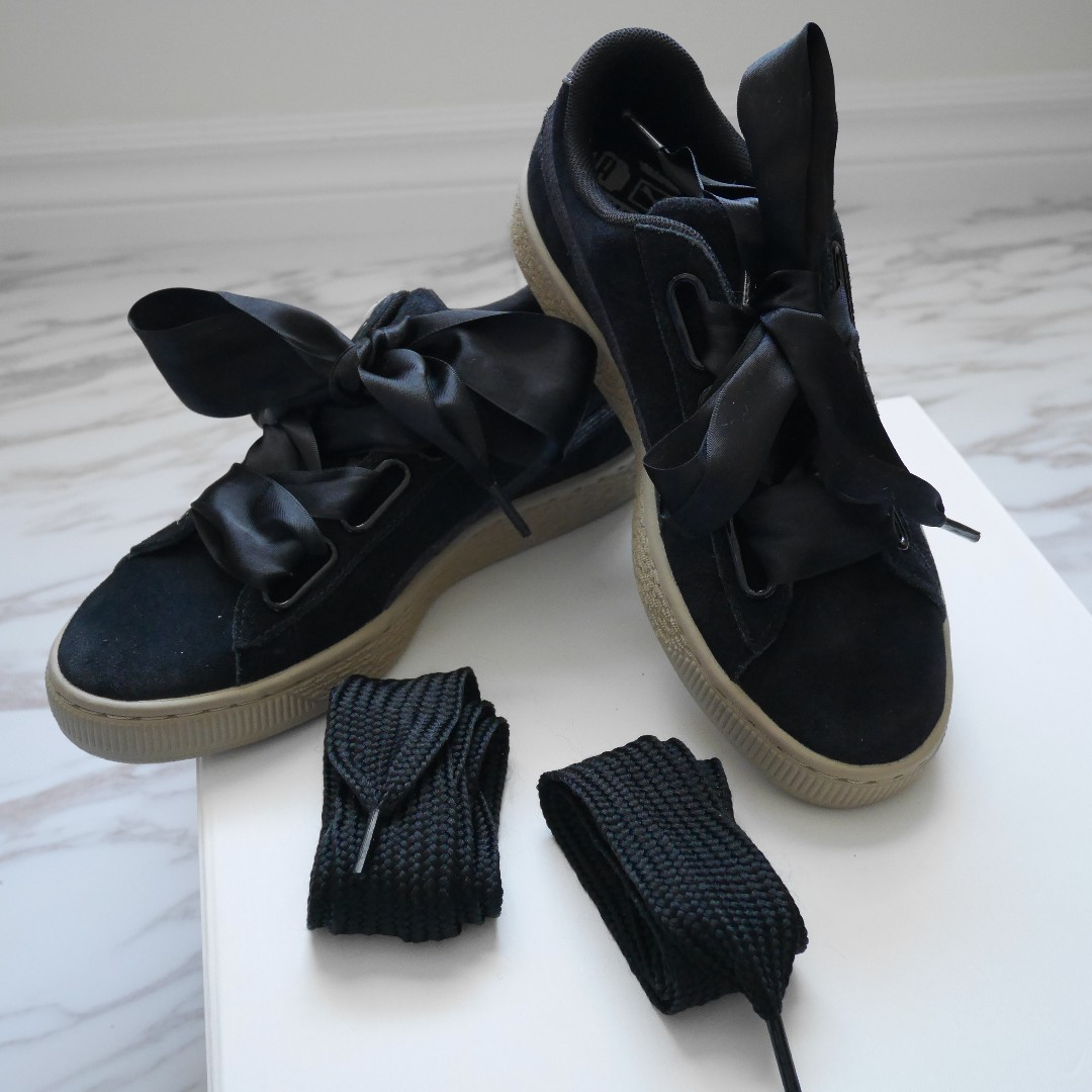 PUMA Women Black Suede Platform Shoes Sneakers Size 6.5 Optional Lace styling