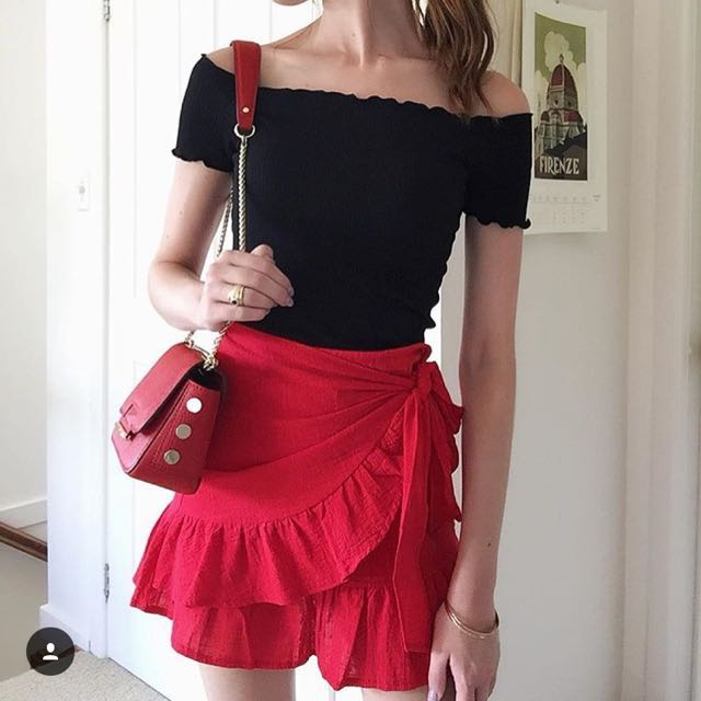 Red frill wrap skirt