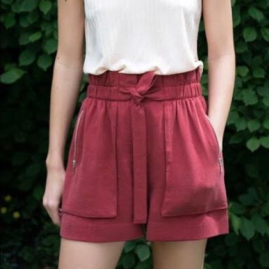 Red Paper Bag Shorts