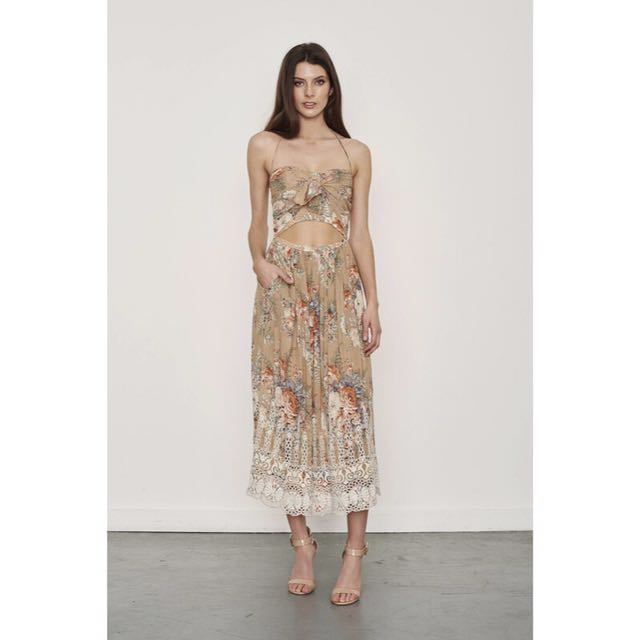 (SIZE 1) Zimmermann Anais Embroidered Floral Tie Dress