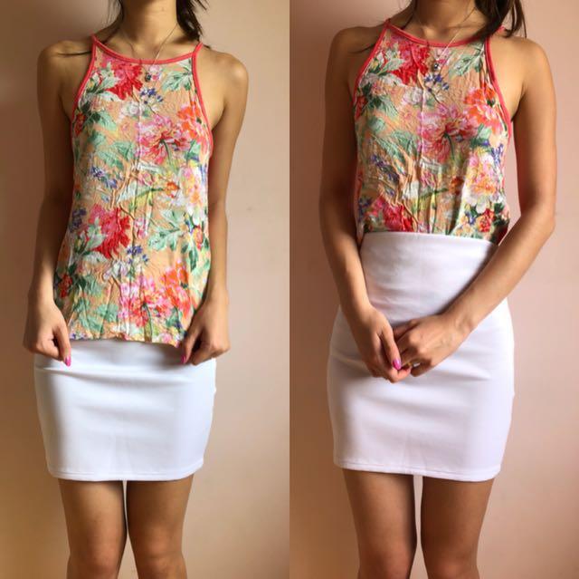 Size 6   White Pencil Scuba Skirt & Size S Top