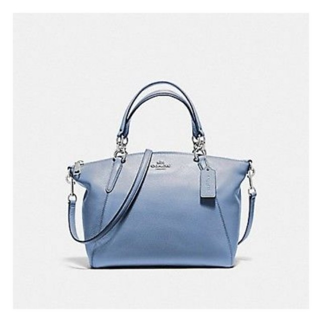 0899db7c3e ... free shipping small kelsey satchel in pebble leather coach f36675 blue  womens fashion bags wallets on