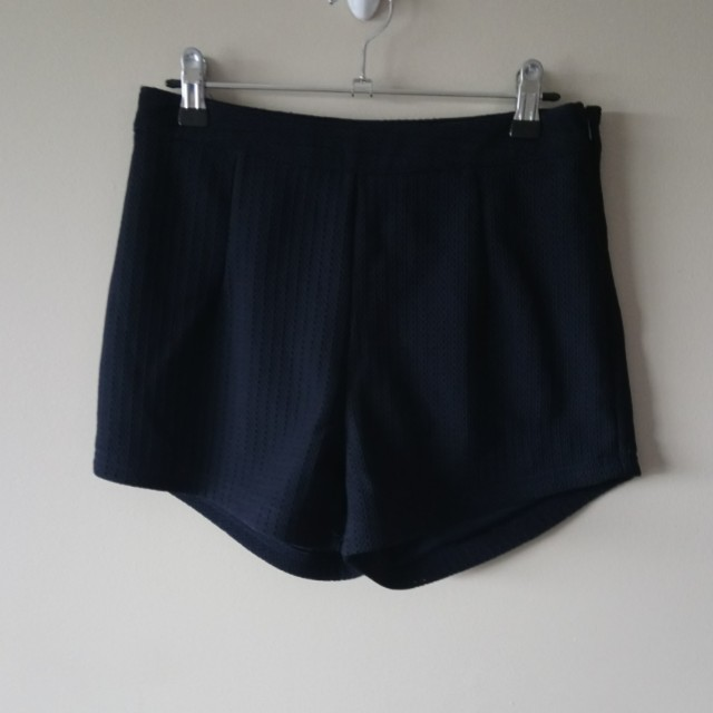 Textured navy shorts