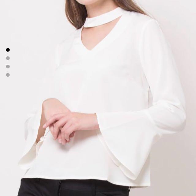 The executive long bell choker sleeves blouse